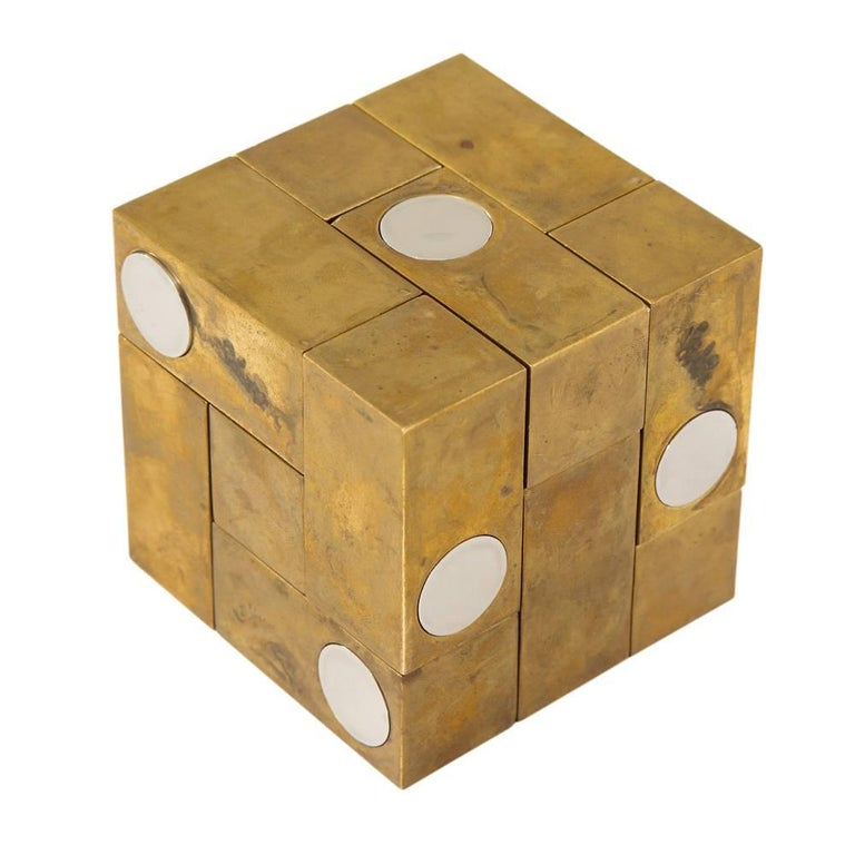 Late 20th Century Grupo Mijar Sculpture Brass Steel Magic Puzzle Cube Signed Spain 1970's