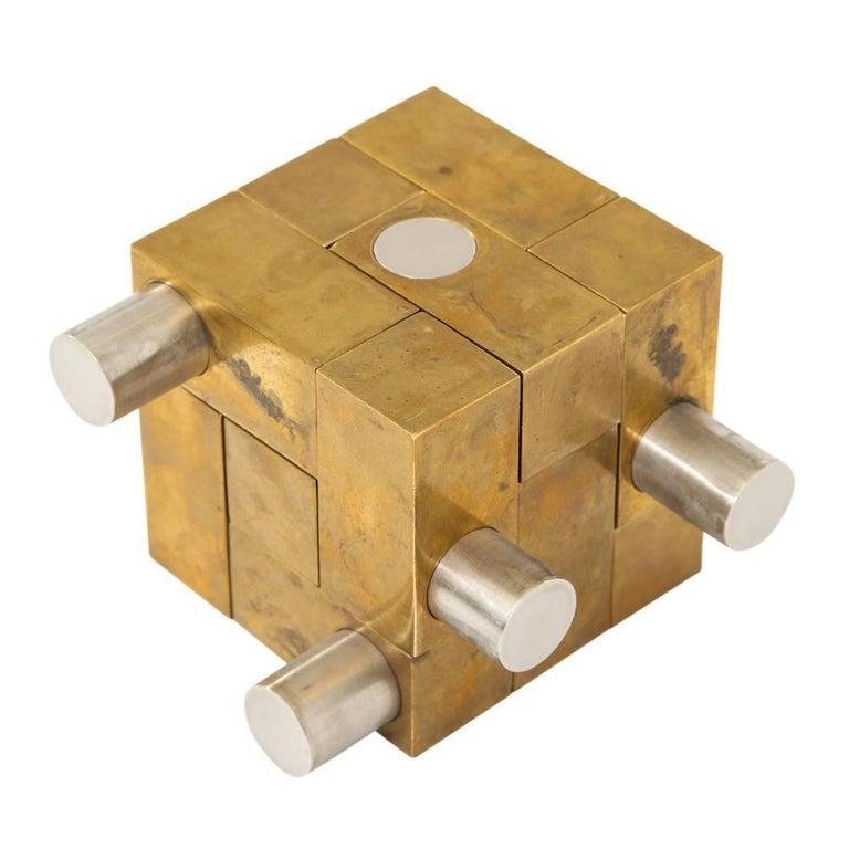 Grupo Mijar Sculpture Brass Steel Magic Puzzle Cube Signed Spain 1970's 1