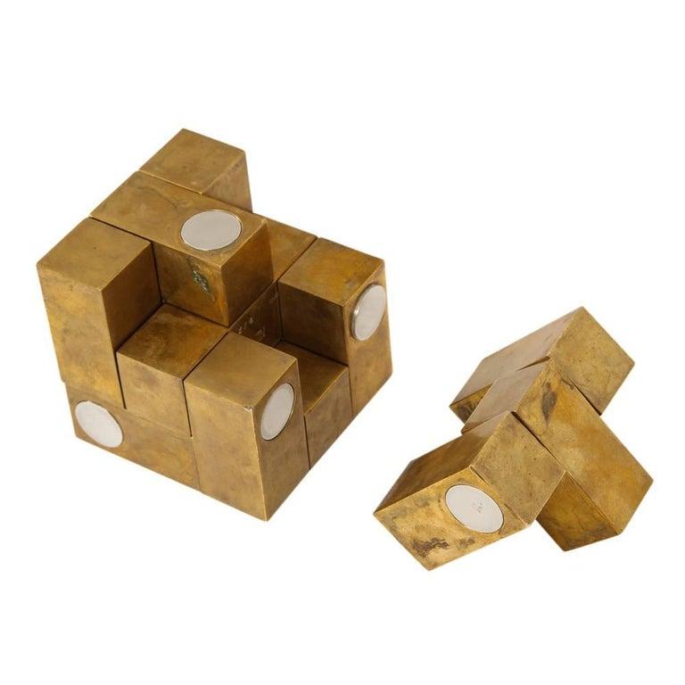 Grupo Mijar Sculpture Brass Steel Magic Puzzle Cube Signed Spain 1970's 3