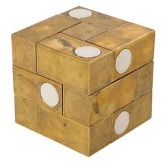 Grupo Mijar Sculpture Brass Steel Magic Puzzle Cube Signed Spain 1970's