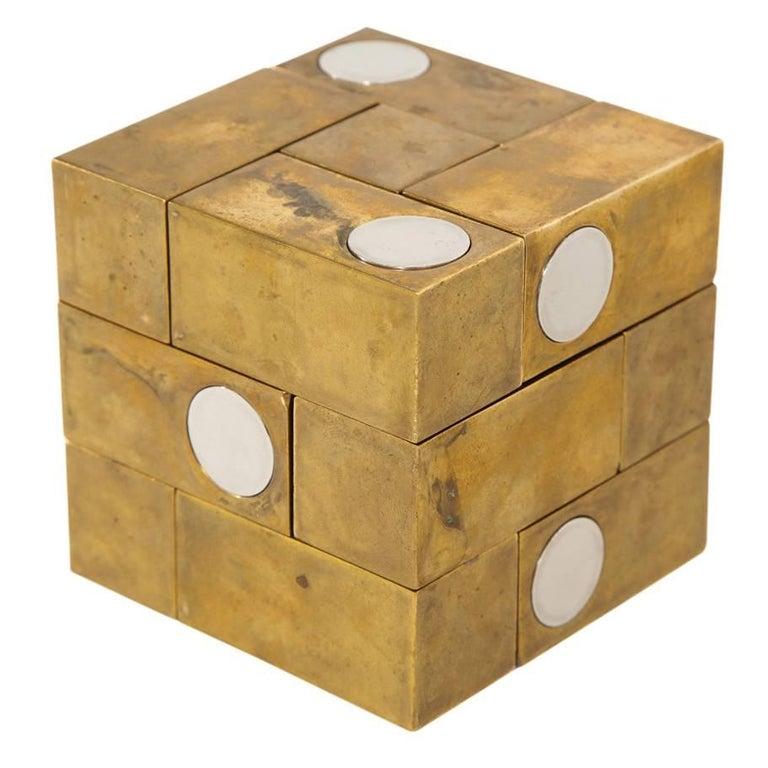 Grupo Mijar Sculpture Brass Steel Magic Puzzle Cube Signed Spain 1970's