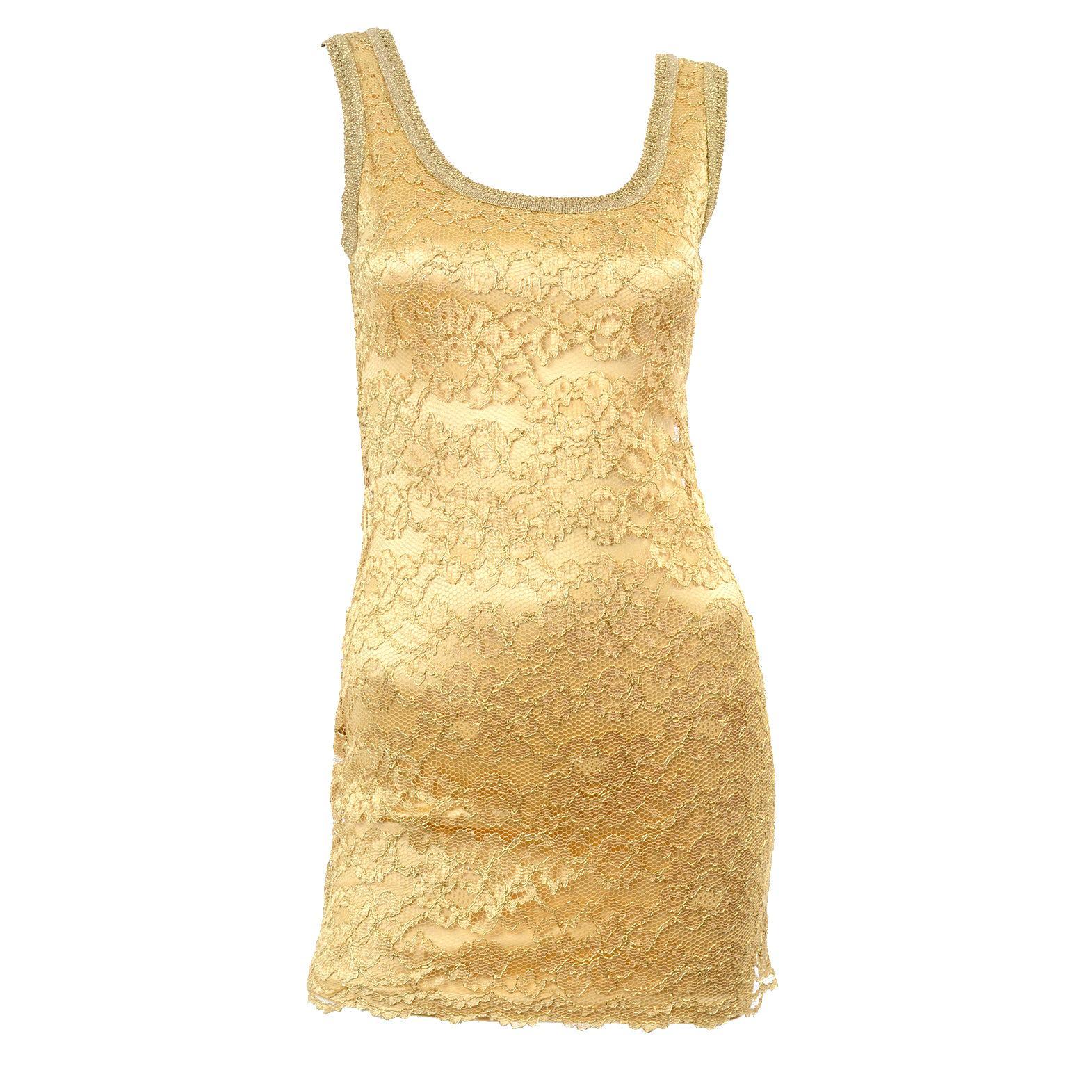 Gruppo GFT Bergdorf Goodman Vintage Gold Stretch Lace Designer Bodycon Dress