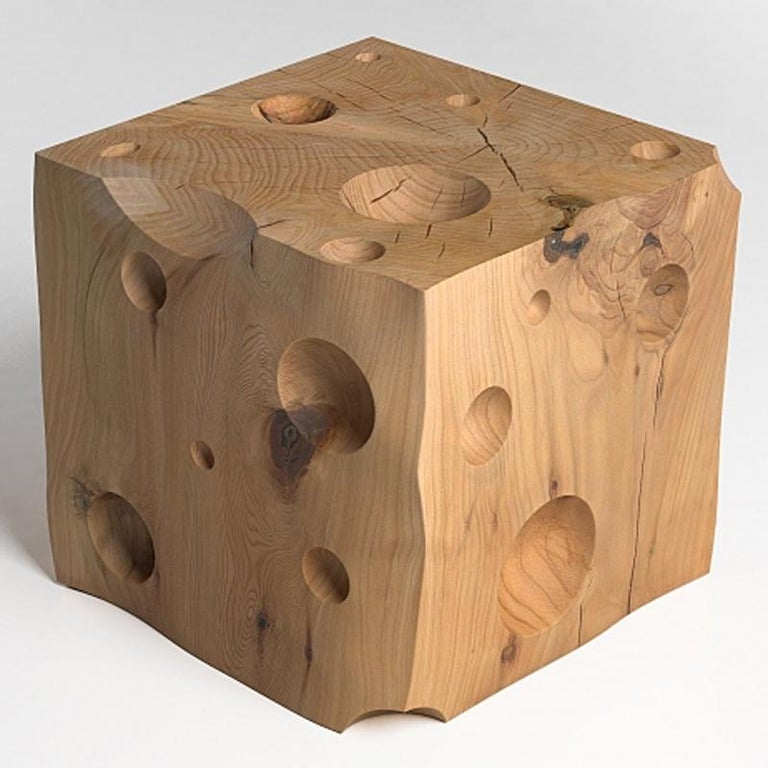 Italian Gruyère Stool in Natural Solid Cedar Wood For Sale