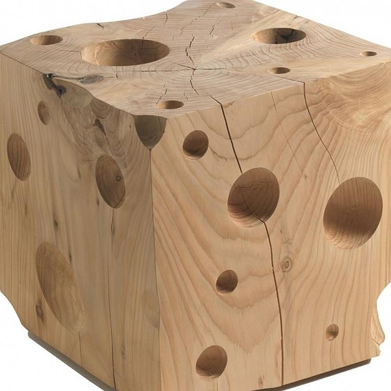 Hand-Crafted Gruyère Stool in Natural Solid Cedar Wood For Sale