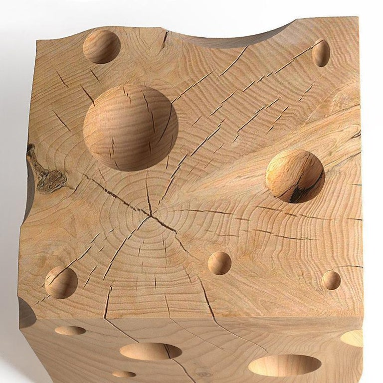 Gruyère Stool in Natural Solid Cedar Wood In Excellent Condition For Sale In Paris, FR
