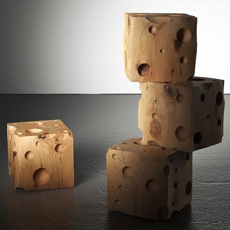 Contemporary Gruyère Stool in Natural Solid Cedar Wood For Sale