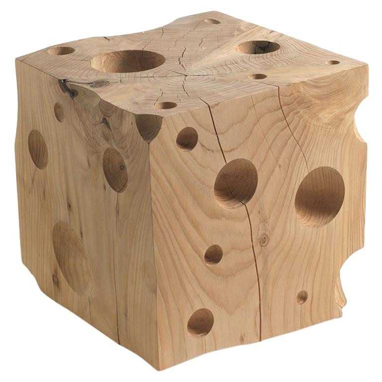 Gruyère Stool in Natural Solid Cedar Wood For Sale