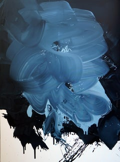 Big Blue - Series Blobs - Colourful Expression, XXXL Format Oil Painting