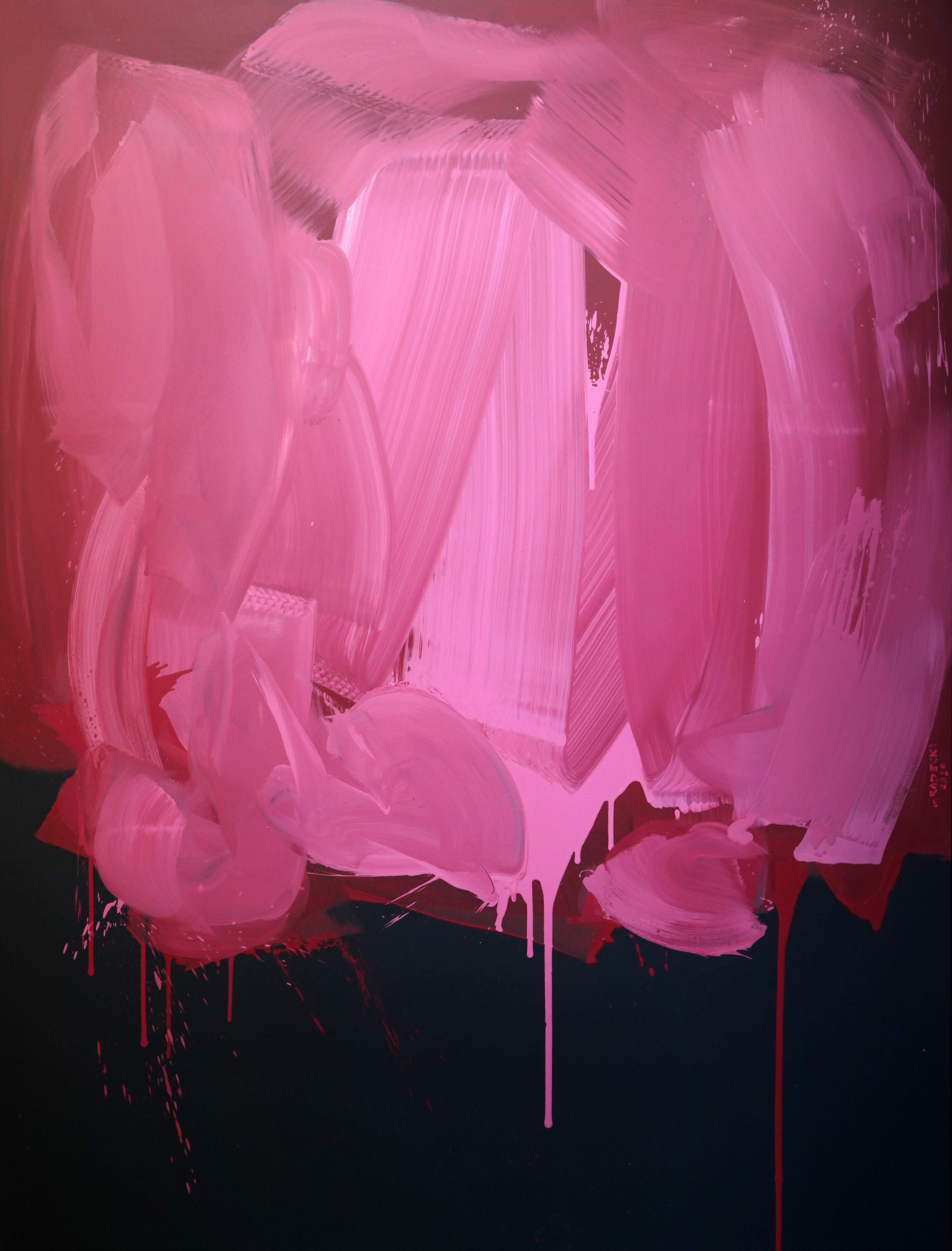 Pink on Black - Series Blobs - Colourful Expression, XXXL Format Oil Painting