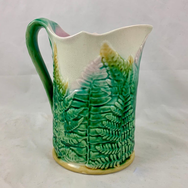 Aesthetic Movement GS&H Etruscan American Majolica Green and White Fern Pitcher, circa 1880 For Sale