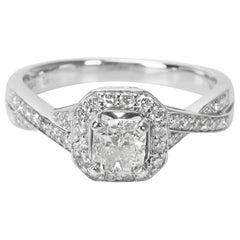 GSI Certified Cushion Diamond Engagement Ring in 14 Karat White Gold 1.00 Carat