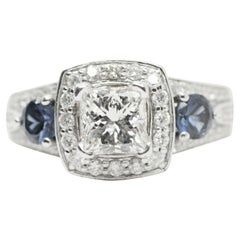GSI Certified Princess Cut Diamond with Halo and Sapphire Ring