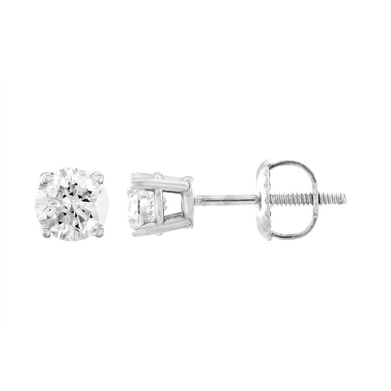 GSL Certified 0.50 Carat Diamond Gold Stud Earrings