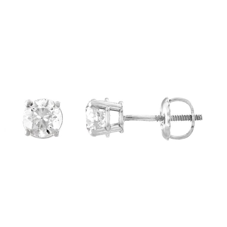 GSL Certified 0.70 Carat Diamond Gold Stud Earrings