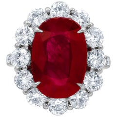 GSR Certified 8.50 Carat Ruby Diamond Ring