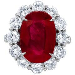 GSR Certified 8.50 Carat Ruby Diamond Ring