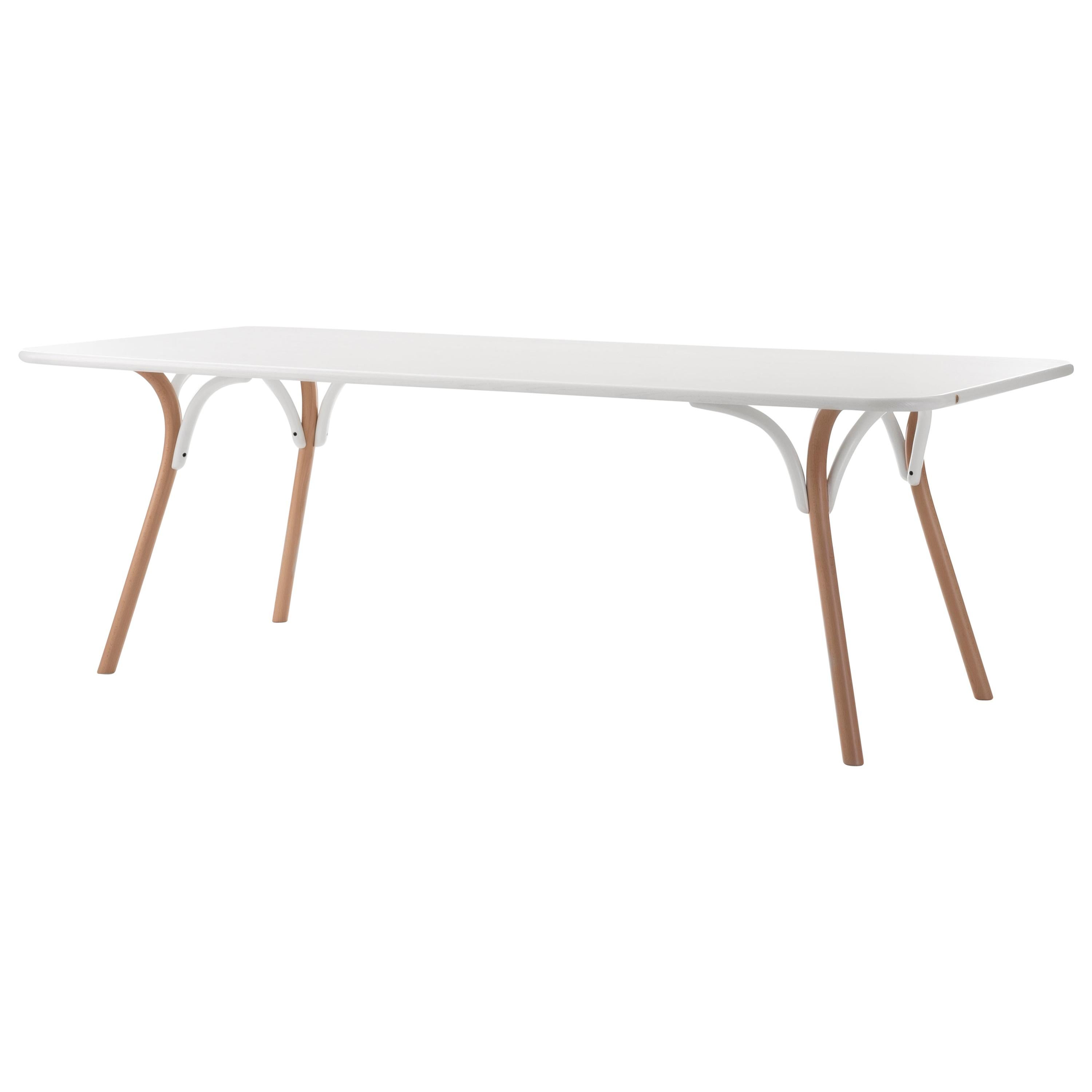 Gebrüder Thonet Vienna GmbH Arch Large Dining Table with White Top & Beech Base