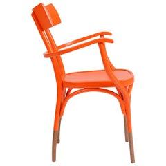 GTV Thonet Czech Armchair in Orange with Plywood & Birch Feet by Hermann Czech