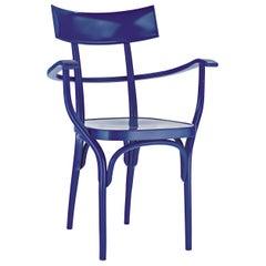 Gebrüder Thonet Vienna GmbH Czech Armchair in Steel Blue with Plywood Seat