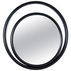 Gebrüder Thonet Vienna GmbH Eyeshine Large Circular Mirror in Black Wood Frame