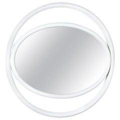 Gebrüder Thonet Vienna GmbH Eyeshine Large Circular Mirror in White with Frame
