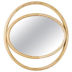 Gebrüder Thonet Vienna GmbH Eyeshine Large Circular Mirror with Ash Wood Frame