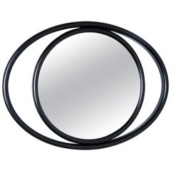 GTV Thonet Eyeshine Large Oval Mirror in Black with Wood Frame by Anki Gneib