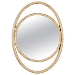 GTV Thonet Eyeshine Large Oval Mirror with Circular Ash Wood Frame by Anki Gneib