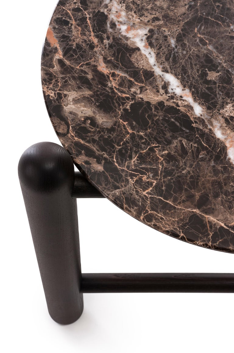 Modern Gebrüder Thonet Vienna GmbH Hold On Side Table in Wenge and Marble Top For Sale