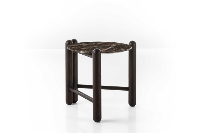 Austrian Gebrüder Thonet Vienna GmbH Hold On Side Table in Wenge and Marble Top For Sale