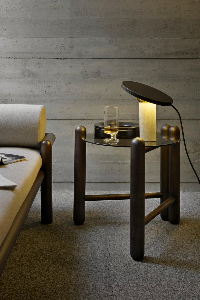 Gebrüder Thonet Vienna GmbH Hold On Side Table in Wenge and Marble Top In New Condition For Sale In New York, NY