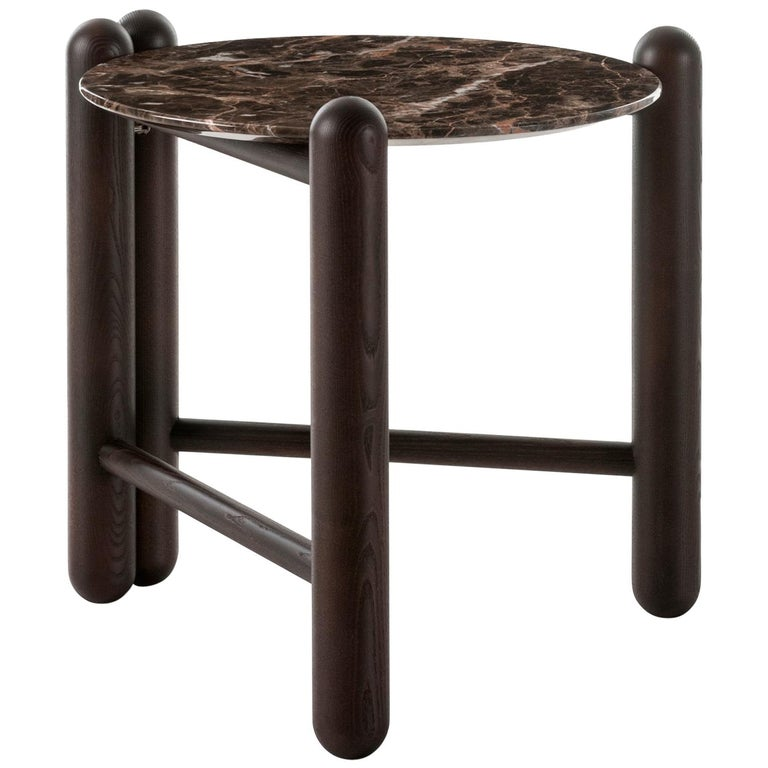 Gebrüder Thonet Vienna GmbH Hold On Side Table in Wenge and Marble Top For Sale