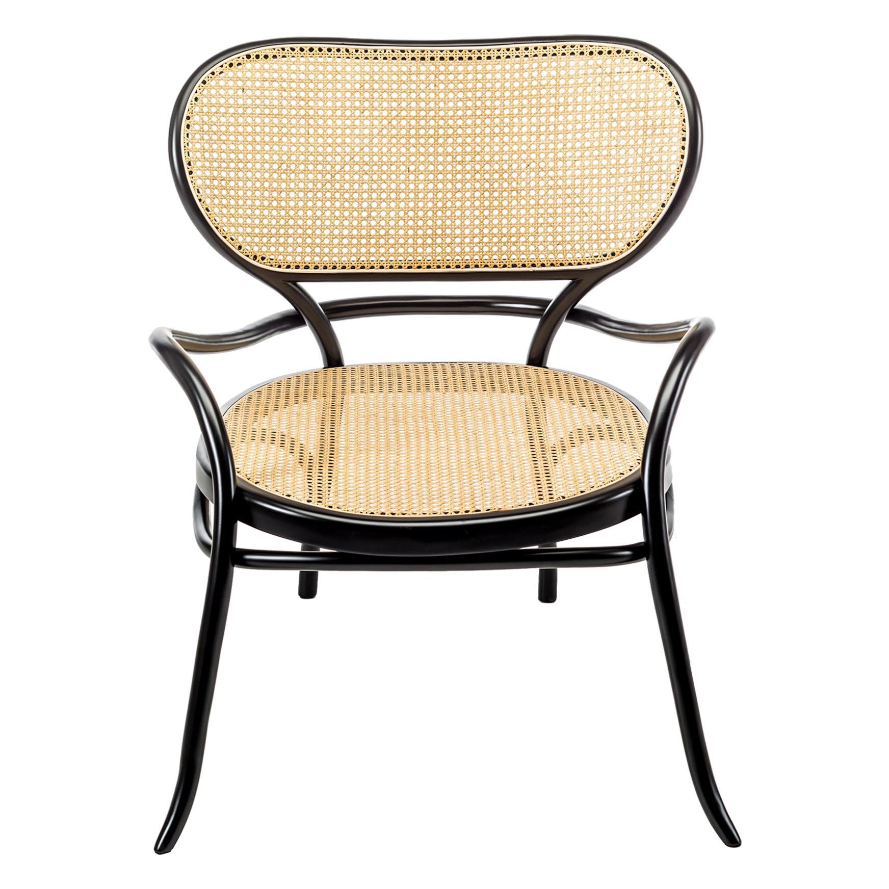 Gebrüder Thonet Vienna GmbH Lehnstuhl Lounge Chair in Black with Woven Cane Seat