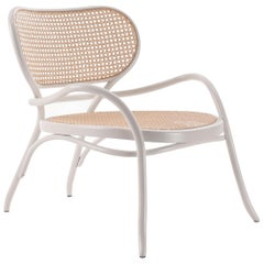 GTV Thonet Lehnstuhl Lounge Chair in White with Woven Cane Seat by Nigel Coates