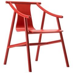 Gebrüder Thonet Vienna GmbH Magistretti 03 01 Armchair in Red Lacquered Beech