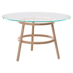GTV Thonet Magistretti 03 02 Circular Table in Beech & Glass by Vico Magistretti