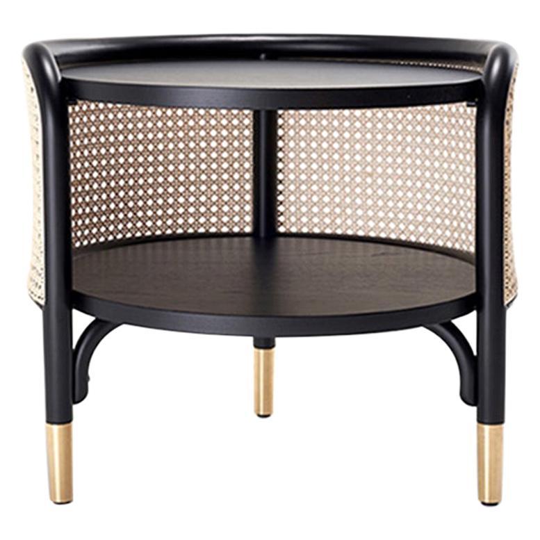 Gebrüder Thonet Vienna GmbH MOS Side Table in Wood with Brass Feet