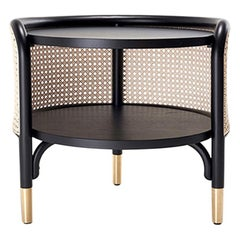 GTV Thonet MOS Side Table in Wood with Brass Feet by Gamfratesi