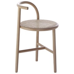 Gebrüder Thonet Vienna GmbH Single Curve Stool in Beech with Cane Upholstered