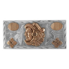 Guadalajara Mexico Sterling Silver & 14K Rose Gold Belt Buckle
