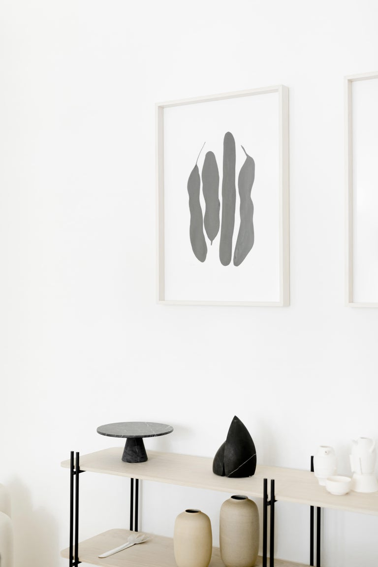 Indian ink on cotton paper illustration framed in bleached pine wood and glass. Bean pod inspired illustration by Diego Hernández Beauroyre.