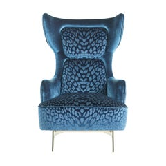 Guam Armchair in Blue Fabric with Metal Base by Roberto Cavalli Home Interiors