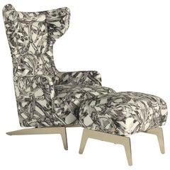 Guam Armchair in Fabric with Gold Finish Metal Base by Roberto Cavalli