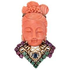 Guanyin Goddess Ring Carved Coral Gemstone Vintage 14 Karat Yellow Gold Cocktail