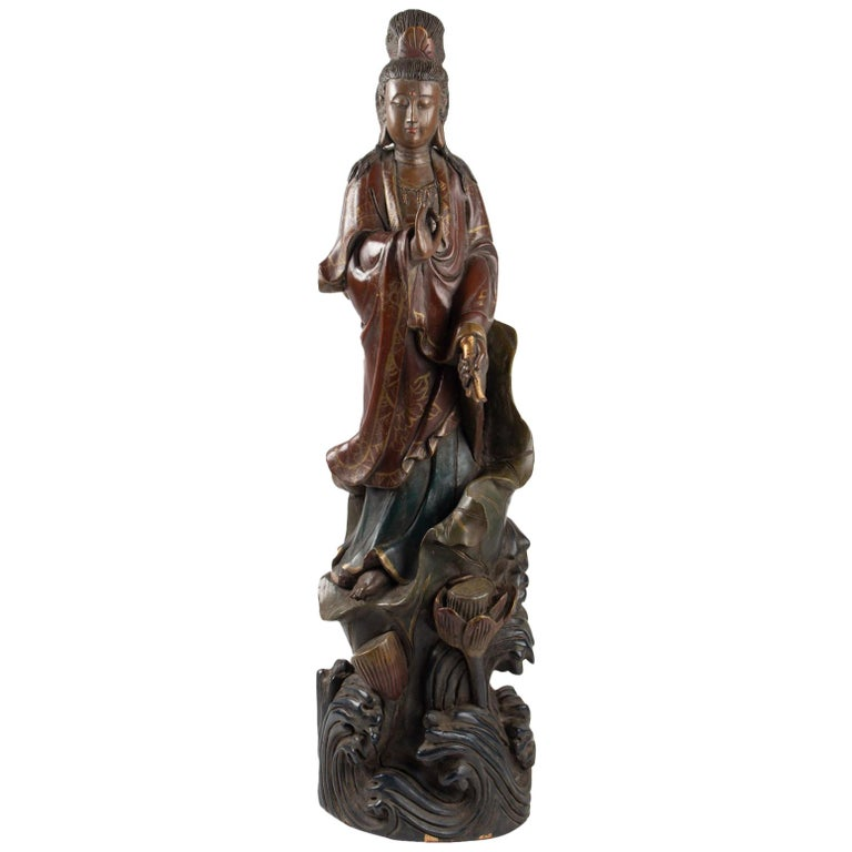 Guanyin in Carved Wood and Polichrome, China, Early 20th Century, Asian Art For Sale