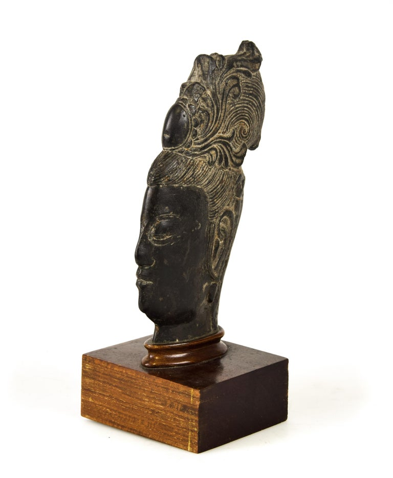 Guanyin's Head, Original Stone Sculpture by Chinese Master, Early 20th Century 1