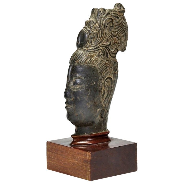Guanyin's Head, Original Stone Sculpture by Chinese Master, Early 20th Century