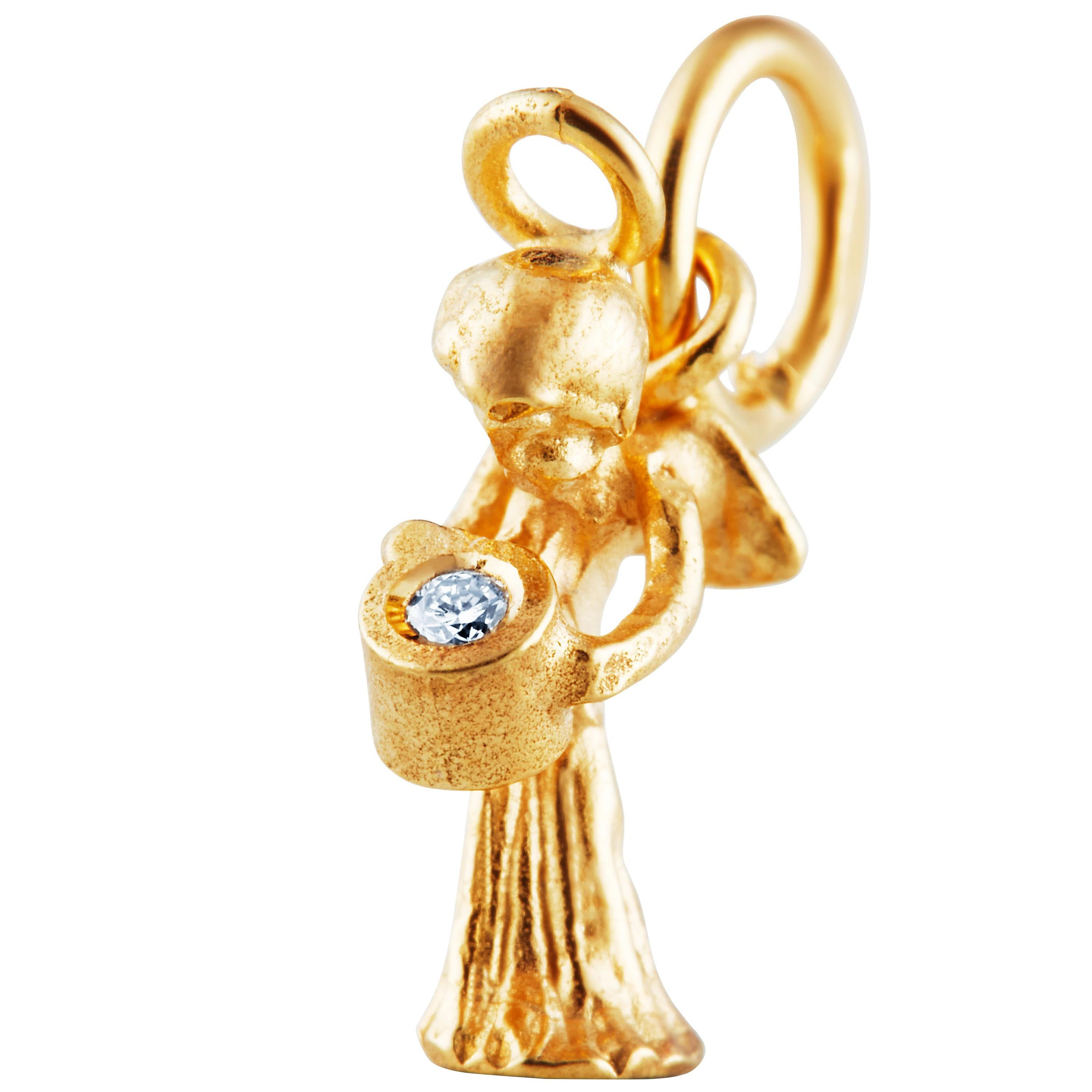Guardian Angel Pendant Traceable Diamond In 18k Yellow Gold By Rocks For Life