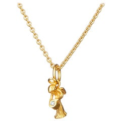 Guardian Angel Pendant With Chain And Traceable Diamond 18 Karat Yellow Gold