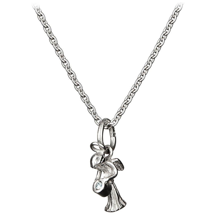 Guardian Angel Pendant With Chain Traceable Diamond 18 Karat White Gold